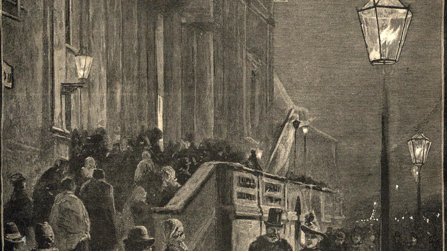 Zdjęcie dla kartki: Pierwsze lampy gazowe oświetlające Trakt Królewski