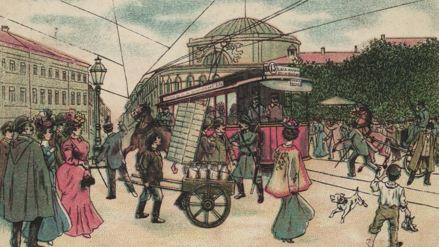 Zdjęcie dla kartki: Pierwszy tramwaj elektryczny