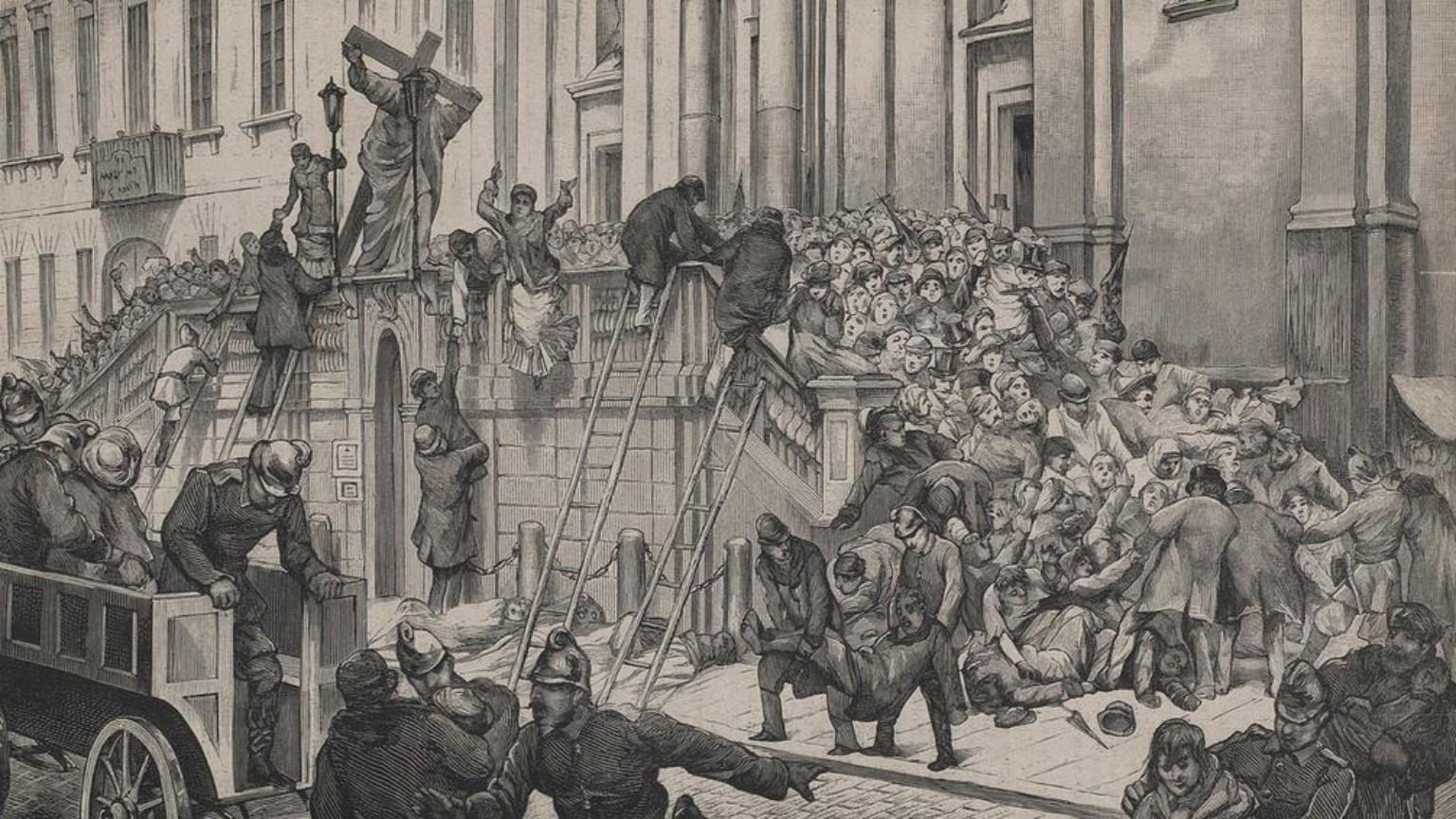 Zdjęcie dla kartki: Katastrofa na schodach kościoła Świętego Krzyża na Krakowskim Przedmieściu