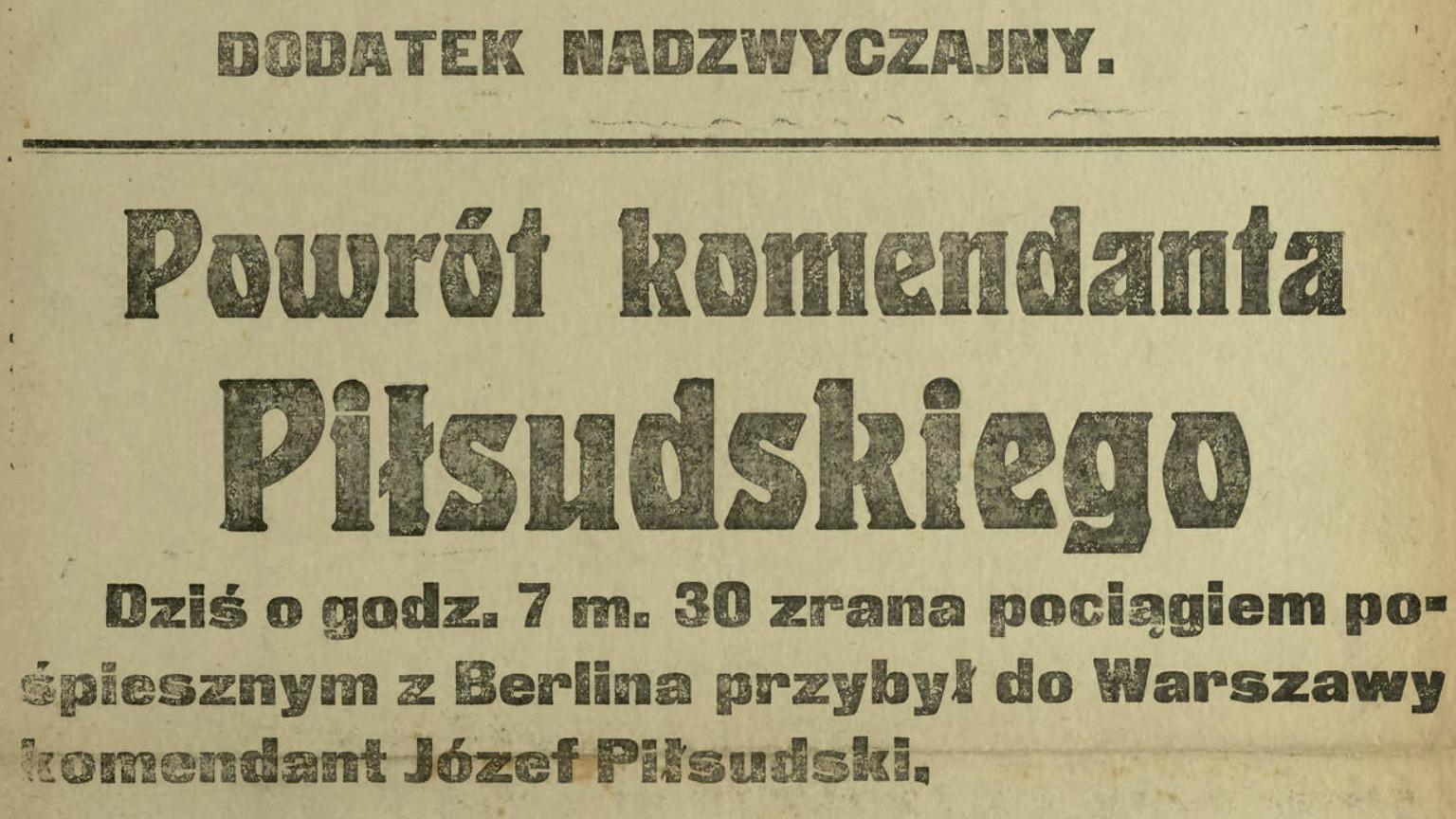 Zdjęcie dla kartki: Z Magdeburga do Warszawy - Piłsudski wolny